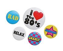 Beistle 60474 5-Pack 80's Party Buttons, 2-1/3-Inch and 1-1/