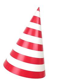 Just Artifacts Party Cone Hats 12pcs Striped Red