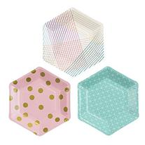 Talking Tables Party Time Stylish Hexagonal Plates for a