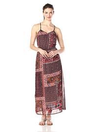 Glamorous Women's Patchwork Print Maxi Dress, Burgundy/Tile