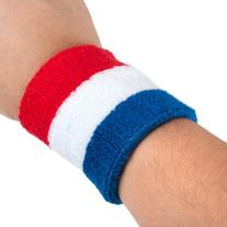GOGO Patriot Style / NBA Style Stripe Wrist Sweatband  - Red