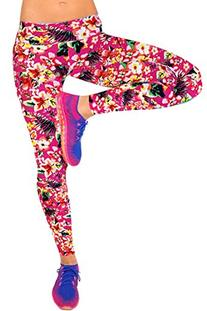 CHICOCO Women's Pink Floral Pattern Fold Over Waist Sport