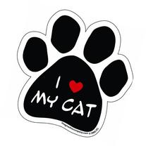 Imagine This Paw Car Magnet, I Love My Cat, 5-1/2-Inch by 5-