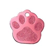 Large Paw Print Pet ID Tag Custom Diamond Engraved Dog Cat