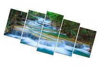 Wieco Art - Peaceful Waterfall Modern 5 Piece Stretched and Framed Artwork Giclee Canvas Prints Green Landscape Pictures Paintings on Canvas Wall Art