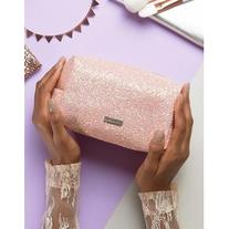 Skinnydip Peach Glitter Make Up Bag