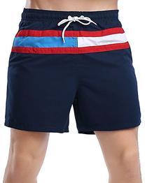 ABUSA Men's Peach Skin Beach Shorts Swim Trunks Black