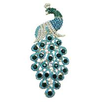EVER FAITH 5 Inch Peacock Austrian Crystal Brooch Pendant