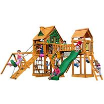 Peak Tree House Swing Set with Fort Add-On and with Amber