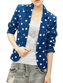 Allegra K Women Long Sleeve Polka Dot Blazers Suit Jacket L