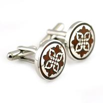PenSee Unique Stainless Steel & Red Wood Floral Cufflinks