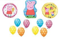 11pc. Peppa Pig Happy Birthday Balloon Set Bouquet