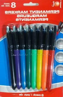 JOT Permanent Markers, Colored, 8 pack