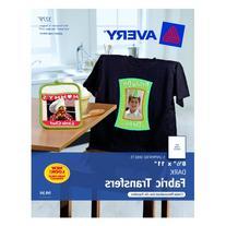 Avery InkJet Iron-On Dark T-Shirt Transfers, White, Five