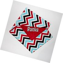 Personalized Double Minky Baby Blanket - Red, Turquoise,