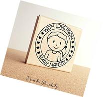 Large Personalized Girl Rubber Stamp, Custom Childrens Name