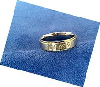 Personalized Hand Stamped Ring~2 Tone~Gold Edged~Gold