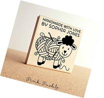 "Large 3x3"" Personalized Sheep Crochet Rubber Stamp"