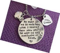 Personalized Teacher Necklace - Teacher Gift - Teacher