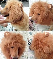 Vvhome Pet Costume Dog Hairpiece Lion Wig with Ears