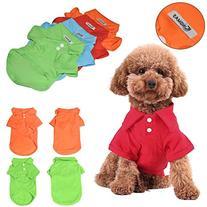 KINGMAS 4Pcs Pet Dog Puppy Polo T-Shirt Clothes Outfit