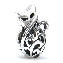 Bella Fascini Petite Kitty Cat Scroll Bead Charm 925