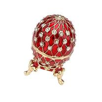 Petite RED Faberge Style Egg Box Set with Swarovski Crystals