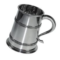 Pewter Tankard 1 Pint Double Celtic Band with Feature