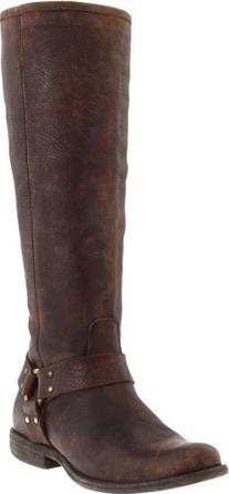 FRYE Women's Phillip Harness Tall Boot, Dark Brown Stone