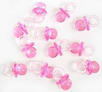 Small Pink Acrylic Baby Pacifiers to Decorate Baby Shower