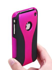WM Hot Pink-Black 3-Piece Hard Case Cover for Apple iPhone