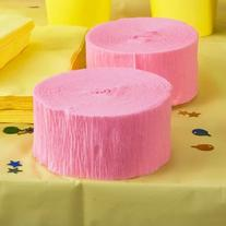 Pink Crepe Paper Streamers 2 Rolls 145 ft Total - Made in