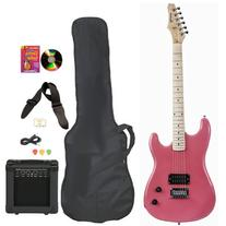 Pink Full Size Electric Guitar & Practice Amp with Case