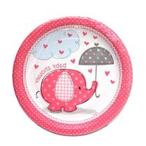 Umbrella Elephant Girl Baby Shower Small Paper Plates
