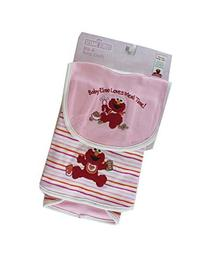 Pink Baby Elmo Loves Meal Time Bib and Burp Cloth Set