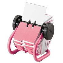 Rolodex Pink Metal Rotary Business Card File, 400 2-5/8
