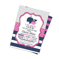 Pink Navy Whale Baby Shower Invitations Girl Shower Invites