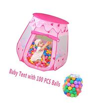 Kids Pink Princess Play Tent Castle with 100 PCS Balls, Casa
