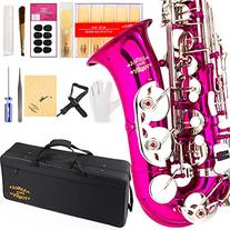 Glory Pink/Silver keys E Flat Alto Saxophone with 11reeds,8
