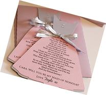Pink and Silver Maid of Honor Invitation Will you be my Maid
