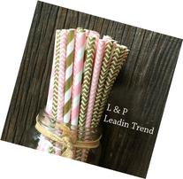 Gold and Pink Stripe and Chevron Paper Straws 7.75 Inches