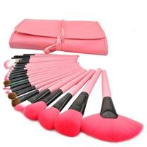 Boboshop Pink 24pcs Professional Wool Cosmetic Makeup Brush