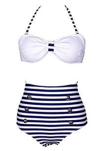 Losorn Women Pinup Rockabilly Vintage High Waist Bikini