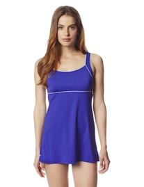 Speedo Women's Piped Sheath Dress Indigo Blue Swimsuit 10