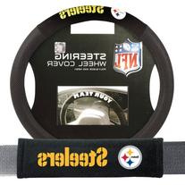 Pittsburgh Steelers NFL Steering Wheel Cover and Seatbelt