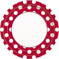 "Polka Dot Dinner Plates, 8.875"", Red, 8 Count"