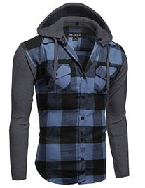 Plaid Checkered Detachable Hoodie Color Contrast Flanel