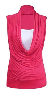 Forever Women Plain Plus Size Cowl Neck Inner Vest 2 In 1