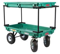 Plastic Double Deck Cart, 20-Inch by 38-Inch, Green