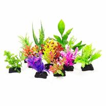 AquaTop Plastic Freshwater Aquarium Plant 12 Pack , Assorted
